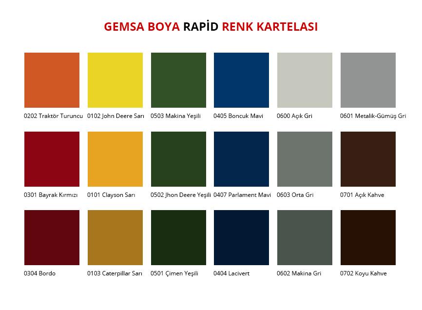 Rapid Renk Kartelası