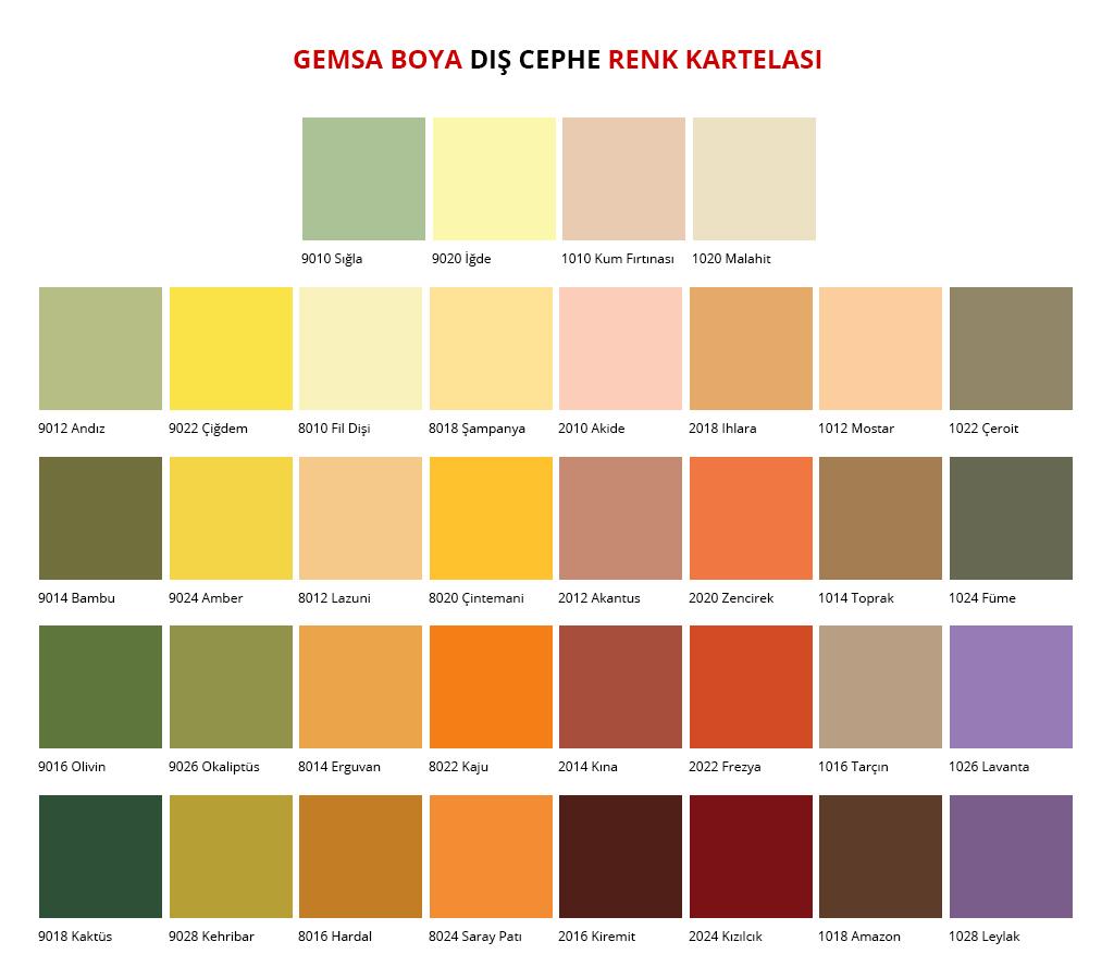 Dış Cephe Renk Kartelası